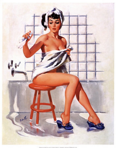bathroom pinup